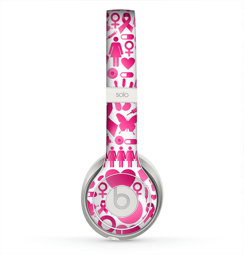 The Pink Collage Breast Cancer Awareness Skin for the Beats by Dre Solo 2 Headphones