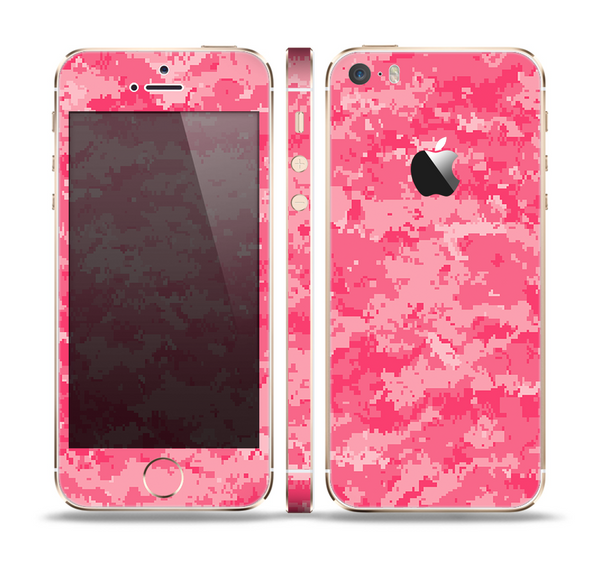 The Pink Digital Camouflage Skin Set for the Apple iPhone 5s