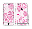 The Pink Floral Designed Hearts Sectioned Skin Series for the Apple iPhone 6s