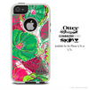 The Bright Pink and Green Flowers Skin For The iPhone 4-4s or 5-5s Otterbox Commuter Case