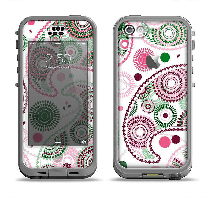 The Pink & Green Floral Paisley Apple iPhone 5c LifeProof Nuud Case Skin Set