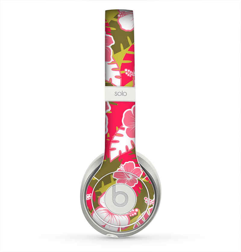 The Pink & Green Hawaiian Floral Pattern V4 Skin for the Beats by Dre Solo 2 Headphones