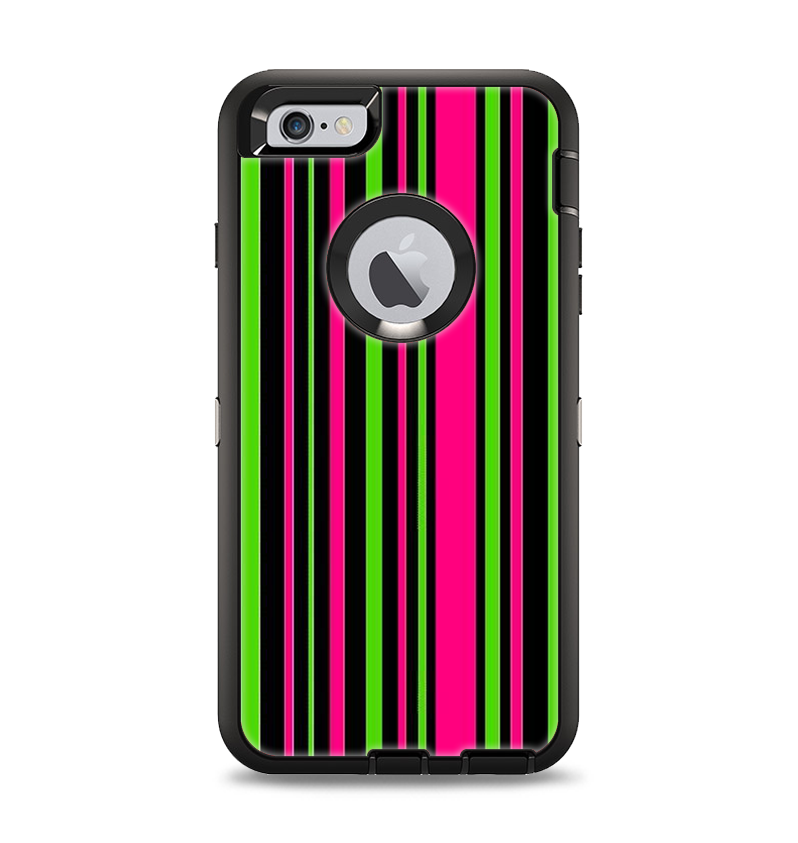 new concept 735ca 35e4f The Pink & Green Striped Apple iPhone 6 Plus Otterbox Defender Case Skin Set