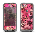 The Pink Grungy Floral Abstract Apple iPhone 5c LifeProof Nuud Case Skin Set