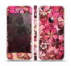 The Pink Grungy Floral Abstract Skin Set for the Apple iPhone 5