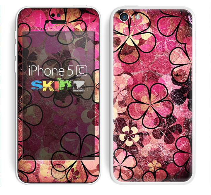 The Pink Grungy Floral Abstract Skin for the Apple iPhone 5c