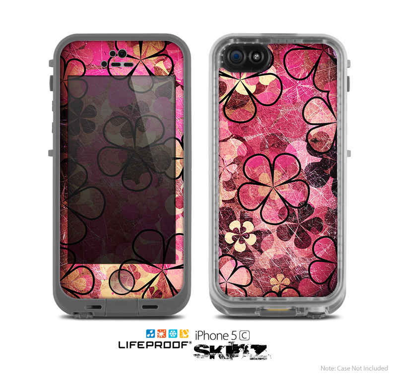 The Pink Grungy Floral Abstract Skin for the Apple iPhone 5c LifeProof Case