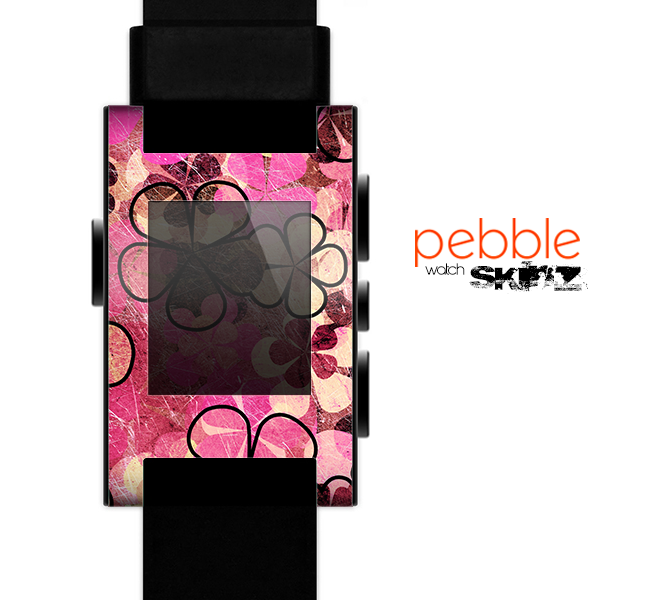The Pink Grungy Floral Abstract Skin for the Pebble SmartWatch
