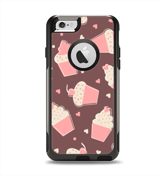 The Pink Outlined Cupcake Pattern Apple iPhone 6 Otterbox Commuter Case Skin Set