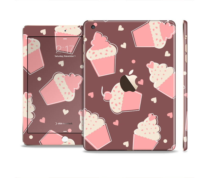 The Pink Outlined Cupcake Pattern Full Body Skin Set for the Apple iPad Mini 3