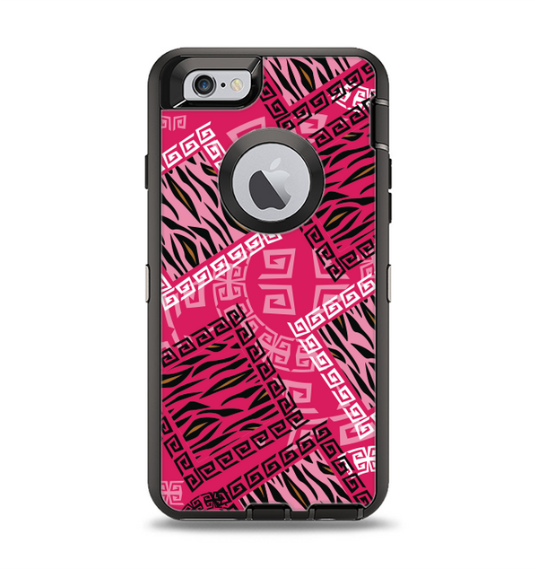 The Pink Patched Animal Print Apple iPhone 6 Otterbox Defender Case Skin Set