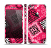 The Pink Patched Animal Print Skin Set for the Apple iPhone 5