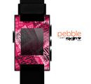 The Pink Patched Animal Print Skin for the Pebble SmartWatch for the Pebble Watch