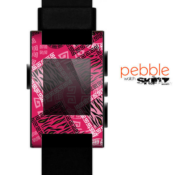 The Pink Patched Animal Print Skin for the Pebble SmartWatch