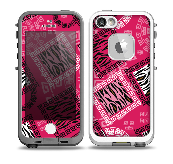 The Pink Patched Animal Print Skin for the iPhone 5-5s fre LifeProof Case