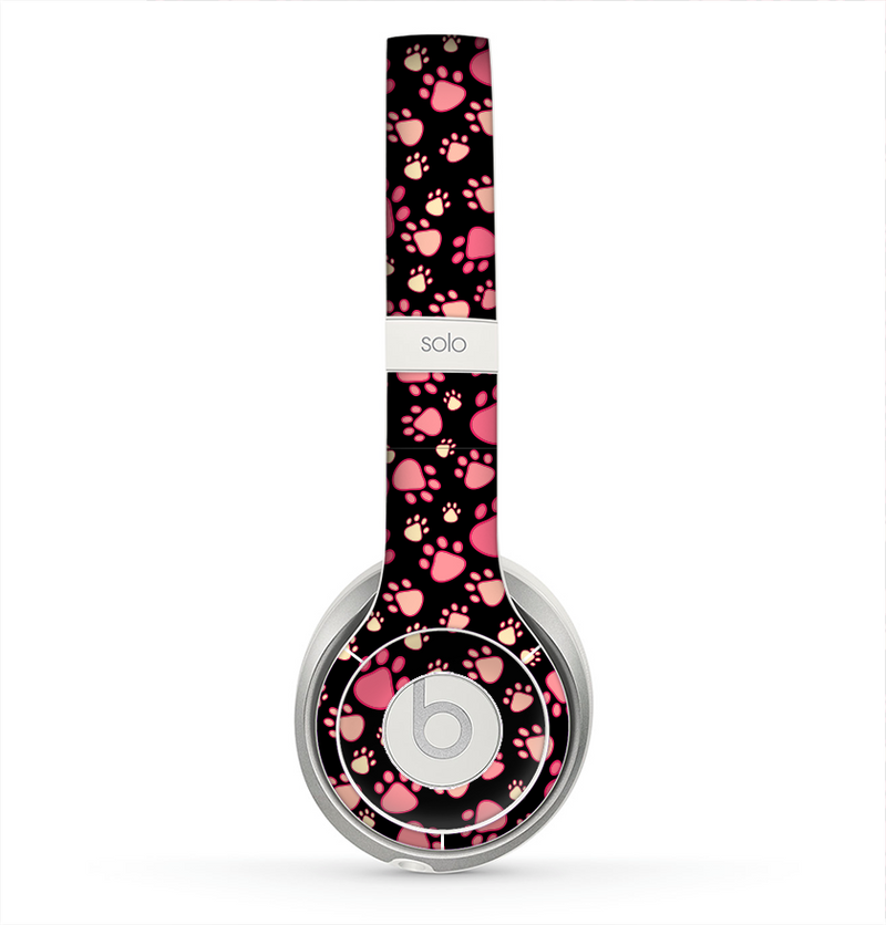 The Pink Paw Prints on Black Skin for the Beats by Dre Solo 2 Headphones