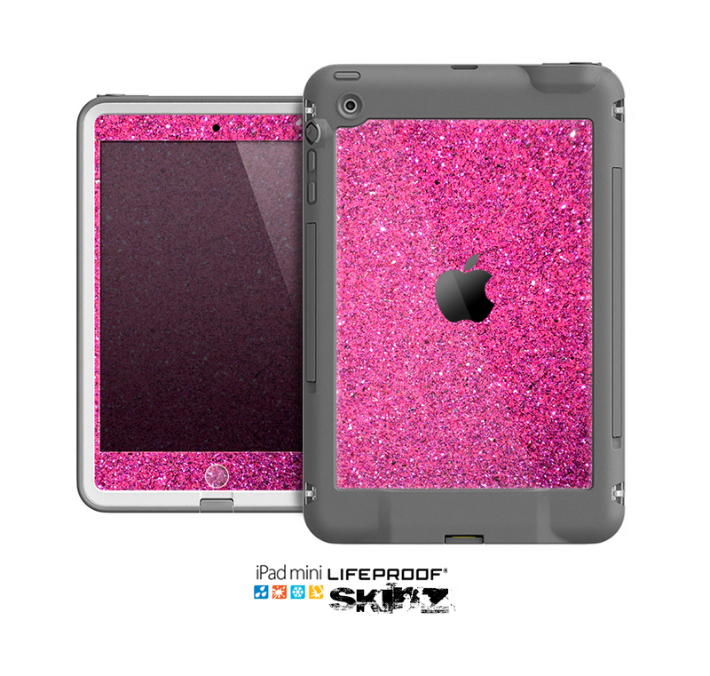 The Pink Sparkly Glitter Ultra Metallic Skin for the Apple iPad Mini LifeProof Case