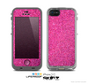 The Pink Sparkly Glitter Ultra Metallic Skin for the Apple iPhone 5c LifeProof Case