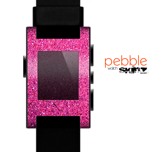 The Pink Sparkly Glitter Ultra Metallic Skin for the Pebble SmartWatch