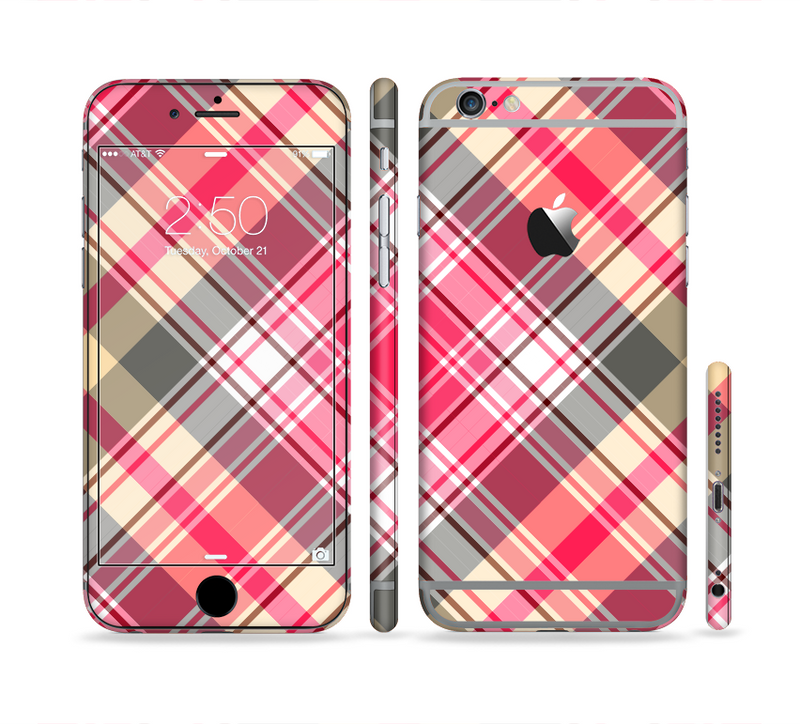 The Pink & Tan Plaid Layered Pattern V5 Sectioned Skin Series for the Apple iPhone 6s