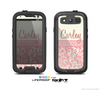 The Pink & Tan Polka Dot Pattern V1 with Name Script Skin For The Samsung Galaxy S3 LifeProof Case
