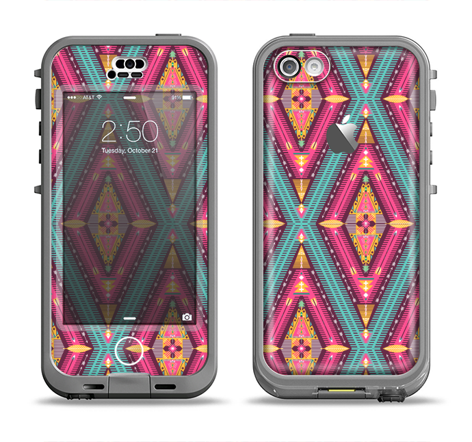 The Pink & Teal Abstract Mirrored Design Apple iPhone 5c LifeProof Nuud Case Skin Set