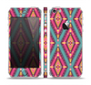 The Pink & Teal Abstract Mirrored Design Skin Set for the Apple iPhone 5