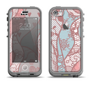 The Pink & Teal Lace Design Apple iPhone 5c LifeProof Nuud Case Skin Set