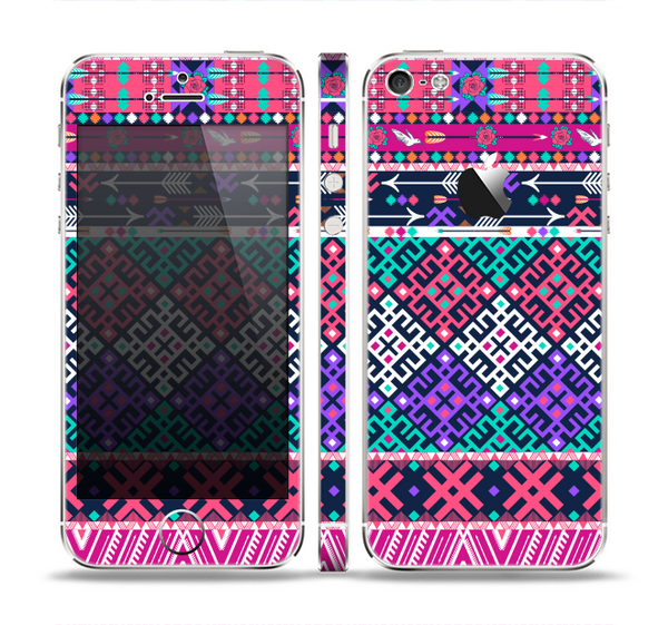 The Pink & Teal Modern Colored Aztec Pattern Skin Set for the Apple iPhone 5