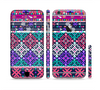 The Pink & Teal Modern Colored Aztec Pattern Sectioned Skin Series for the Apple iPhone 6