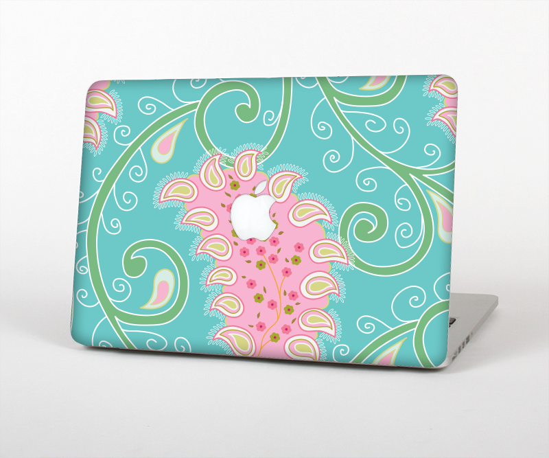 "The Pink & Teal Paisley Design Skin Set for the Apple MacBook Pro 15"" with Retina Display"