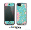 The Pink & Teal Paisley Design Skin for the Apple iPhone 5c LifeProof Case