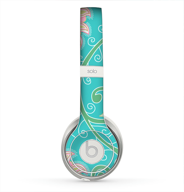 The Pink & Teal Paisley Design Skin for the Beats by Dre Solo 2 Headphones