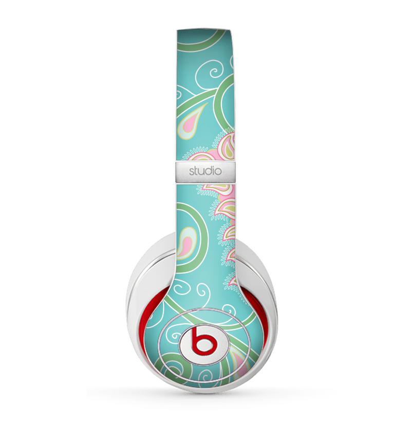 The Pink & Teal Paisley Design Skin for the Beats by Dre Studio (2013+ Version) Headphones