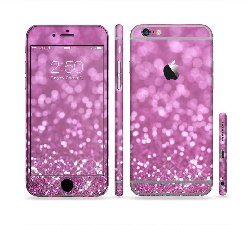 The Pink Unfocused Glimmer Sectioned Skin Series for the Apple iPhone 6