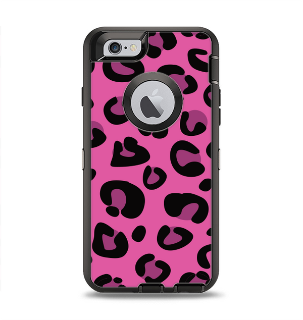 The Pink Vector Cheetah Print Apple iPhone 6 Otterbox Defender Case Skin Set