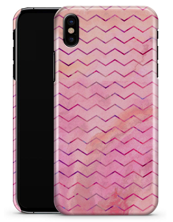 The Pink Watercolor Paint Blend with Multicolor Chevron  - iPhone X Clipit Case