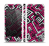 The Pink & White Abstract Maze Pattern Skin Set for the Apple iPhone 5