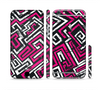The Pink & White Abstract Maze Pattern Sectioned Skin Series for the Apple iPhone 6