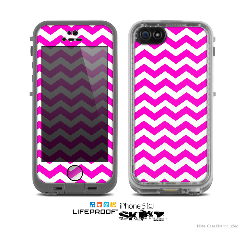 The Pink White Chevron Pattern Skin For Apple IPhone 5c LifeProof Case