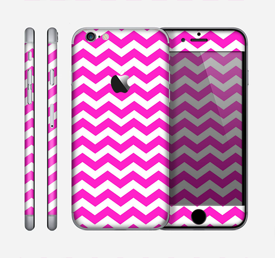 The Pink & White Chevron Pattern Skin for the Apple iPhone 6