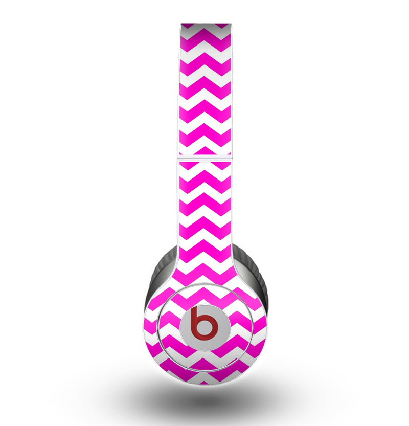 The Pink & White Chevron Pattern Skin for the Beats by Dre Original Solo-Solo HD Headphones