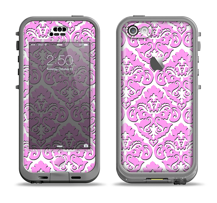 The Pink & White Delicate Pattern Apple iPhone 5c LifeProof Nuud Case Skin Set