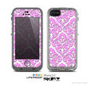The Pink & White Delicate Pattern Skin for the Apple iPhone 5c LifeProof Case