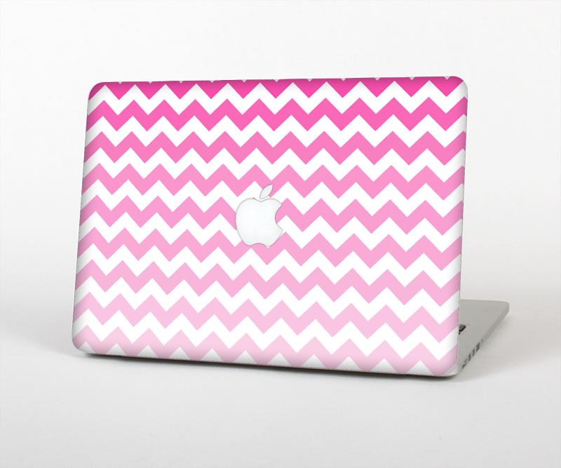 "The Pink & White Ombre Chevron Pattern Skin Set for the Apple MacBook Pro 15"" with Retina Display"