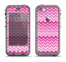 The Pink & White Ombre Chevron V2 Pattern Apple iPhone 5c LifeProof Nuud Case Skin Set