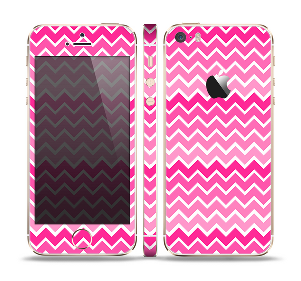 The Pink & White Ombre Chevron V2 Pattern Skin Set for the Apple iPhone 5s