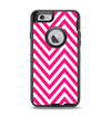 The Pink & White Sharp Chevron Pattern Apple iPhone 6 Otterbox Defender Case Skin Set