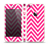 The Pink & White Sharp Chevron Pattern Skin Set for the Apple iPhone 5s
