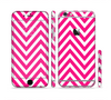 The Pink & White Sharp Chevron Pattern Sectioned Skin Series for the Apple iPhone 6